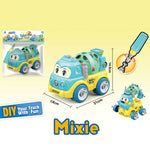 Mixer Truck - assemble construction truck toys with plastic screws and screwdriver