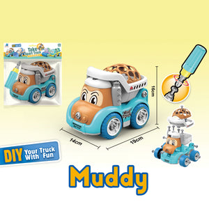 Mud Truck - assemble construction truck toys with plastic screws and screwdriver