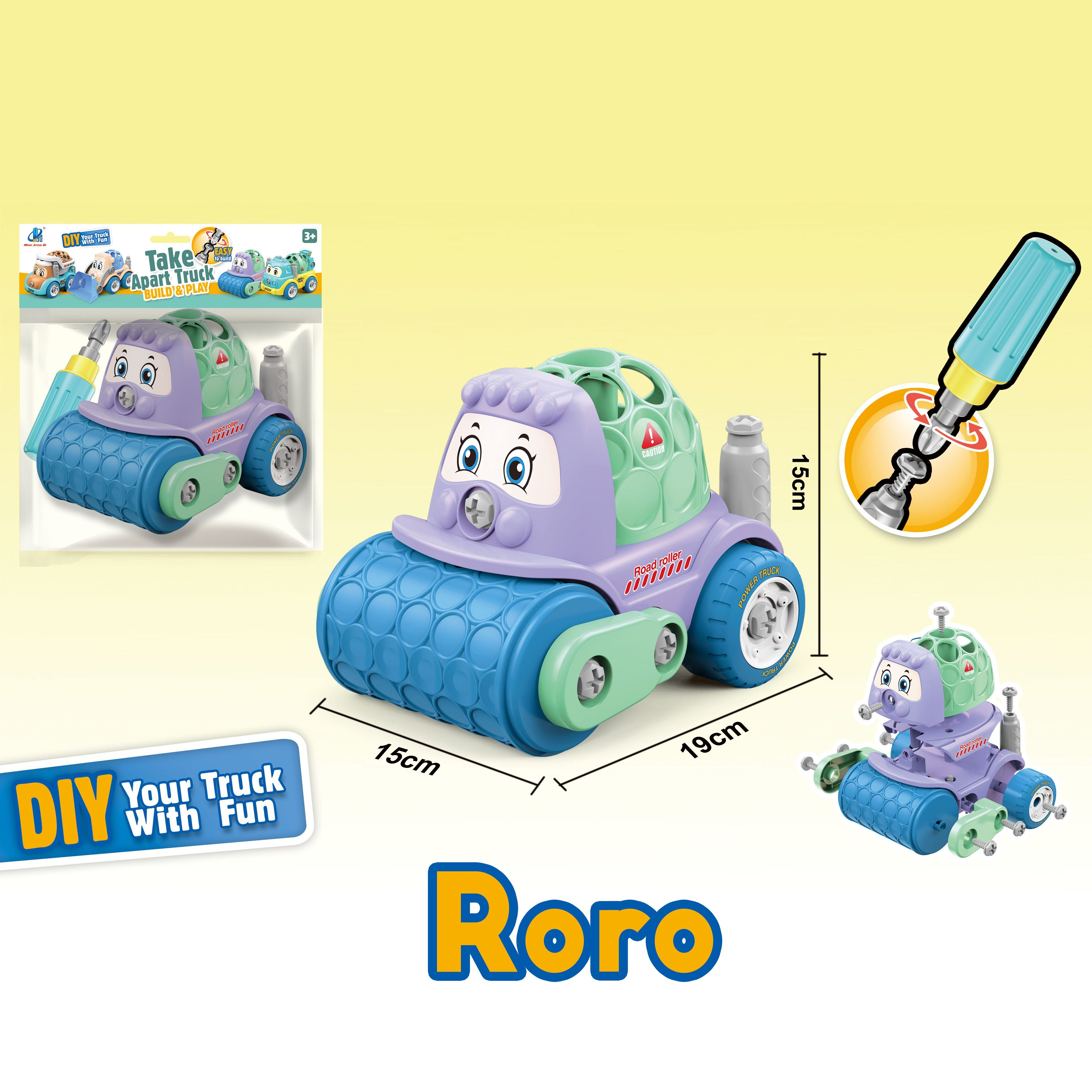 Roller Truck - assemble construction truck toys with plastic screws and screwdriver