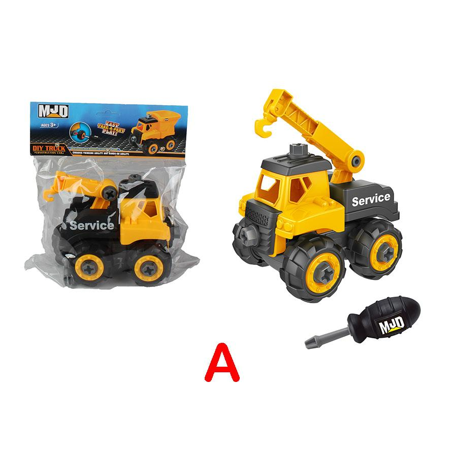 Crane Truck - assemble construction truck toys with plastic screws and screwdriver