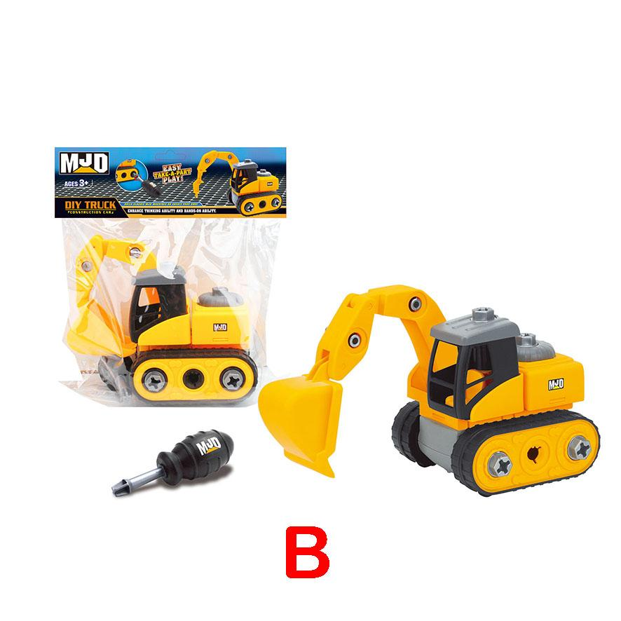 Excavator - assemble construction truck toys with plastic screws and screwdriver