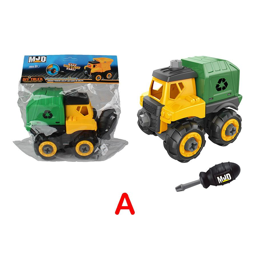 Garbage Truck - Assemble construction truck toys with plastic screws and screwdriver