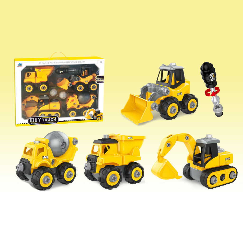 Assemble construction truck toys with plastic screws and screwdriver in box set