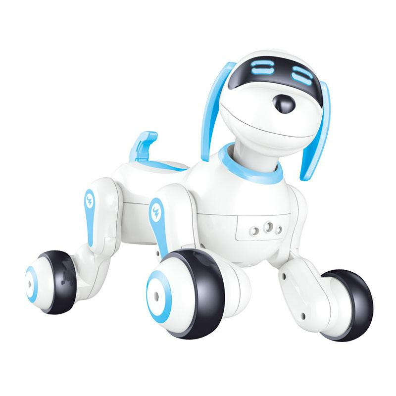 Radio Controlled RC fun dog blue robot toy with lights and sound