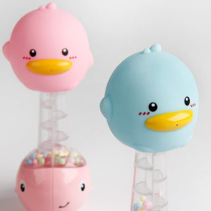 Animal baby duck rattle toy with squeeze and sound close-up detail