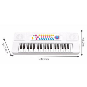 Electric piano keyboard toy with sound and music showing dimensions