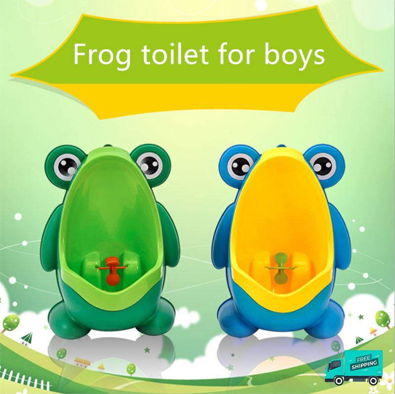 Frog toilet potty train urinal green and blue