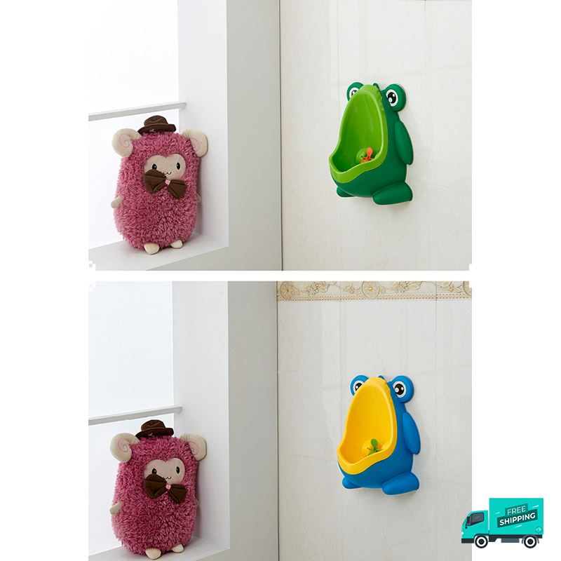 sample photo of Frog toilet potty train urinal green and blue wall hung
