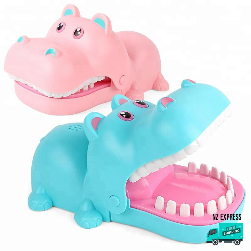 Funny hippo finger bite toy with lights and sounds