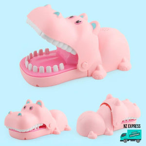 Funny pink hippo finger bite toy with lights and sounds in details