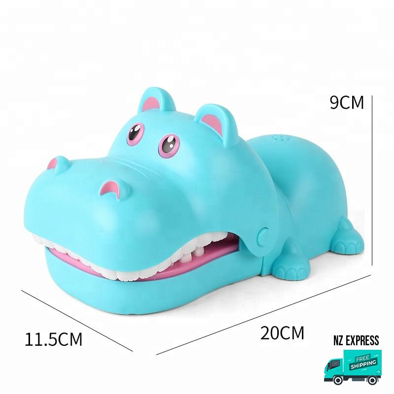 Funny blue hippo finger bite toy with lights and sounds showing dimensions
