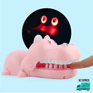 Funny pink hippo finger bite toy with lights and sounds
