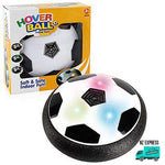 Fun indoor hover ball toy with lights and packaging angle view