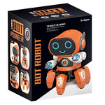 Dancing robot toy with lights and music in box packaging