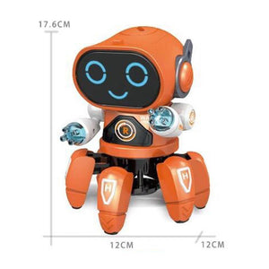 Orange dancing robot toy with lights and music showing dimensions