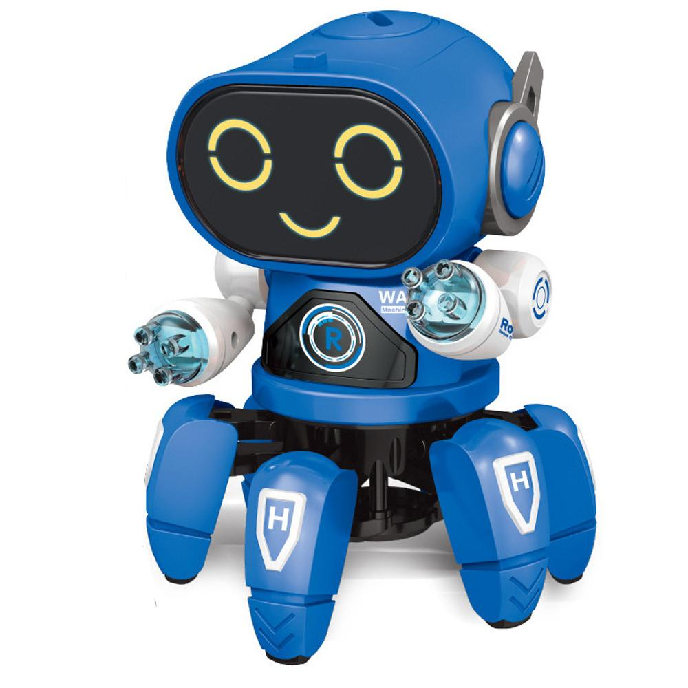 Blue dancing robot toy with lights and music
