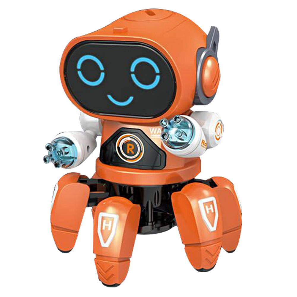Orange dancing robot toy with lights and music