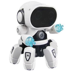 White dancing robot toy with lights and music