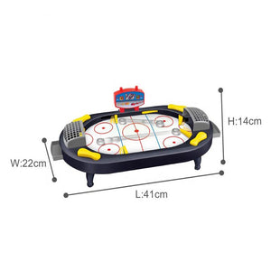 Fun ice hockey game toy showing dimensions