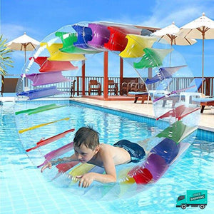 Inflatable Water Wheel My Toy Hub boy in the swimming pool