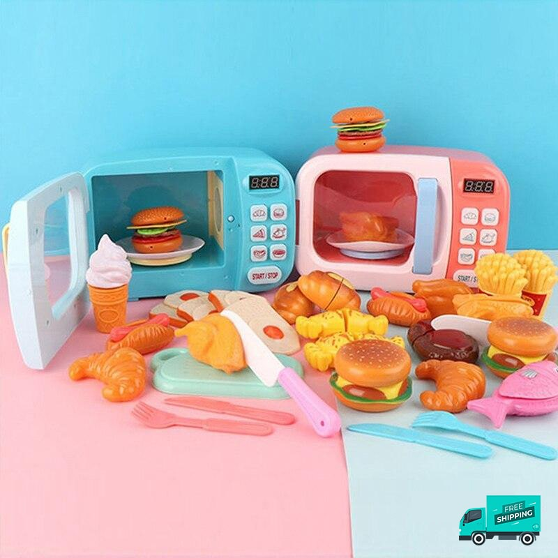 Blue and Pink Microwave food set pretend play toy