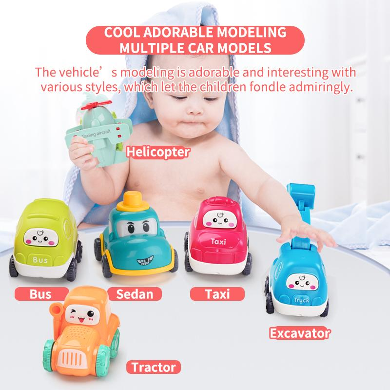 Cute baby cars and airplane toys in different styles and designs