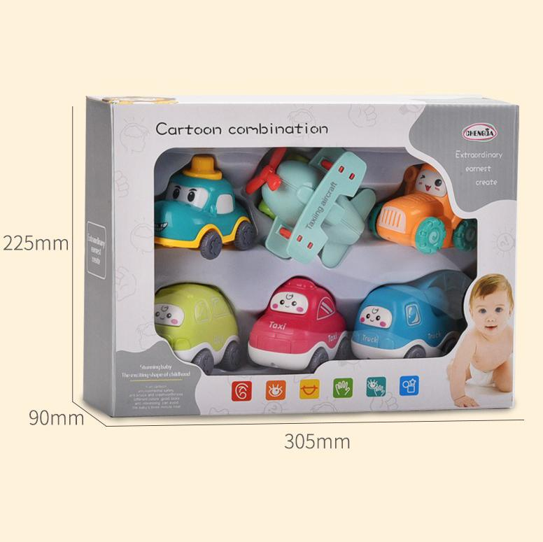 Cute baby cars and airplane toys in box packaging