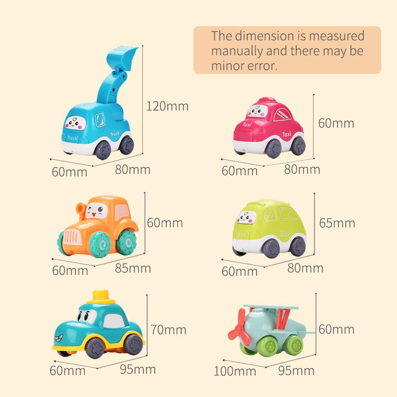 Cute baby cars and airplane toys showing the dimensions