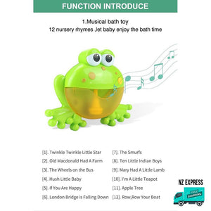 Frog bubble water bath toy with 12 nursery music rhymes