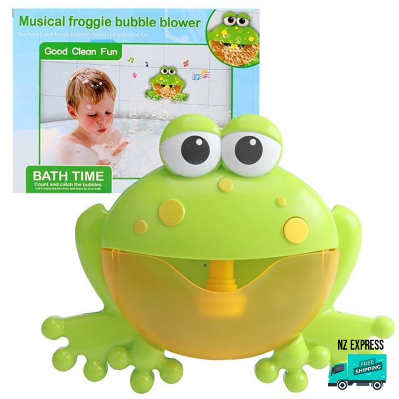Frog bubble water bath toy with music in box packaging