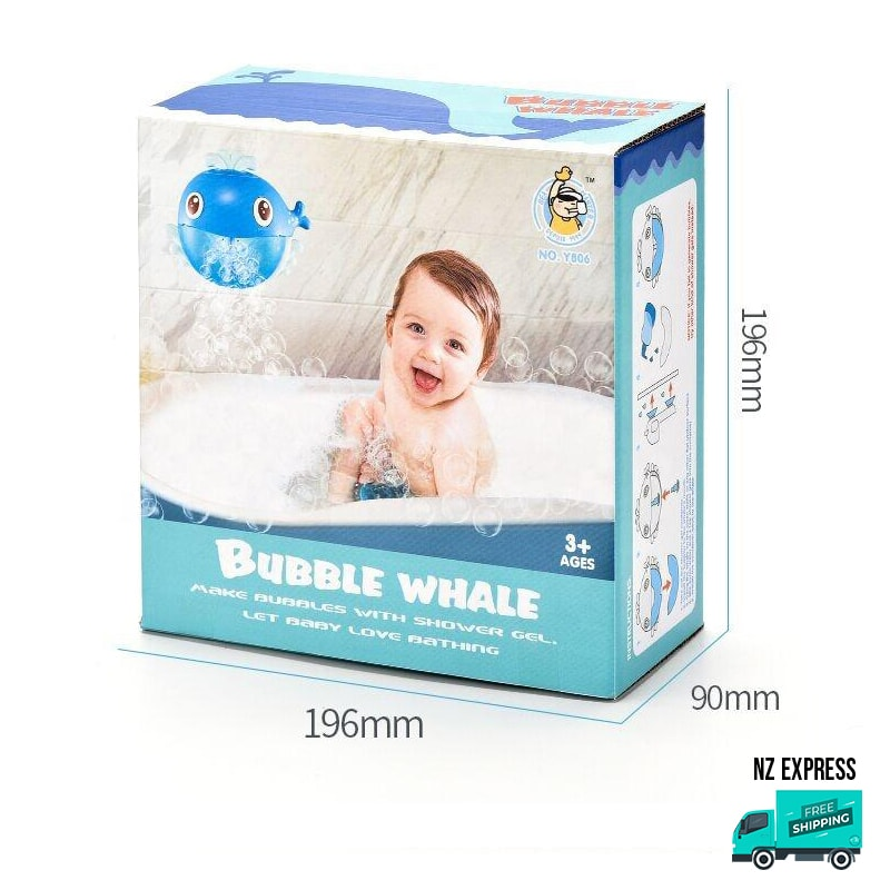 Whale bubble water bath toy with music in box packaging