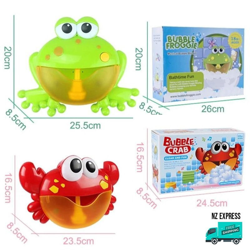 Crab bubble water bath toy with music showing dimensions and box packaging