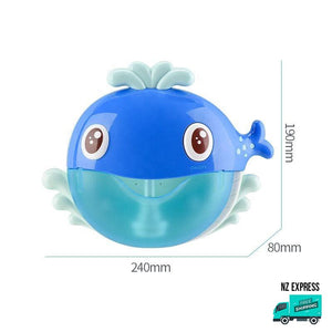 Whale bubble water bath toy with music showing dimensions