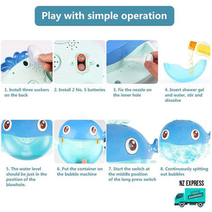How to use whale bubble water bath toy with music