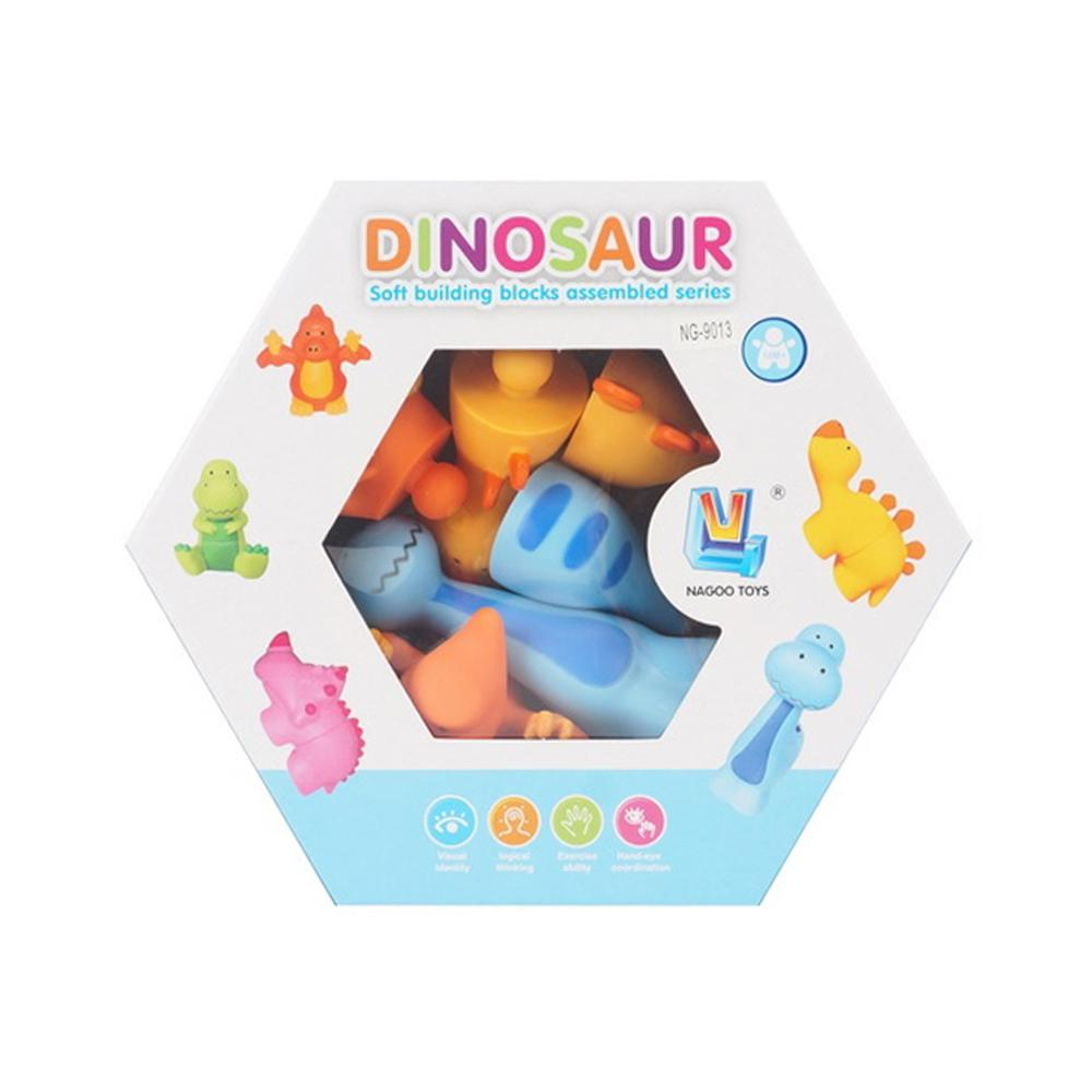 Educational dinosaur soft building blocks toy in box packaging