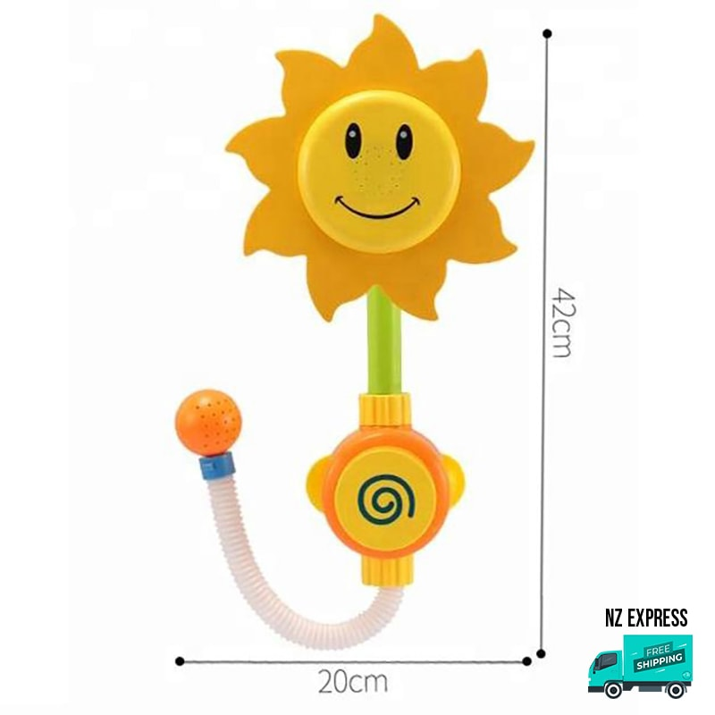Sunflower water sprinkler bath tub toy showing dimensions