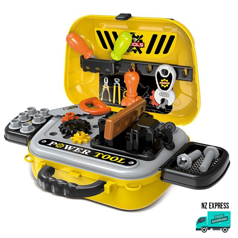 Kids power tools in sling carry bag pretend play toy