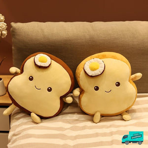 White Bread Sliced Stuffed Soft Pillow sitting together in front view