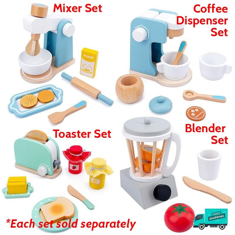 Wooden breakfast and baking set collection