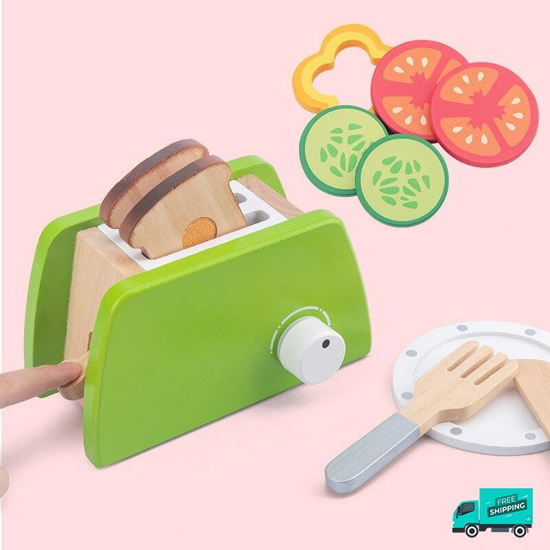 Wooden Cooking Kitchen Set Toaster with salad and fork and knife