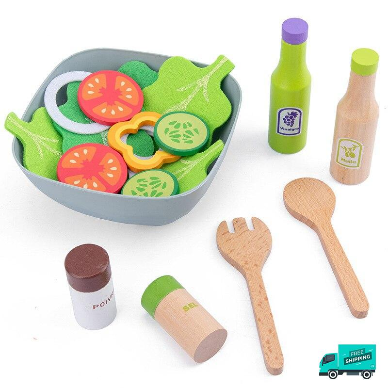 Wooden Cooking Kitchen Set Salad and condiments