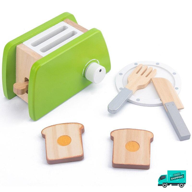 Wooden Cooking Kitchen Set Toaster with bread and fork and knife