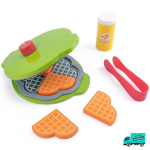 Wooden Cooking Kitchen Set Waffle maker with tongs