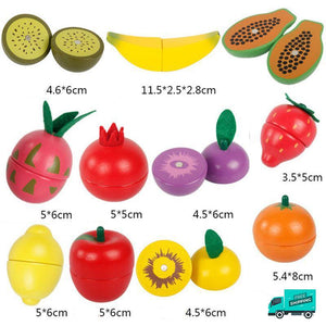 Wooden Cutting Fruit Vegetable Toys pieces with dimensions