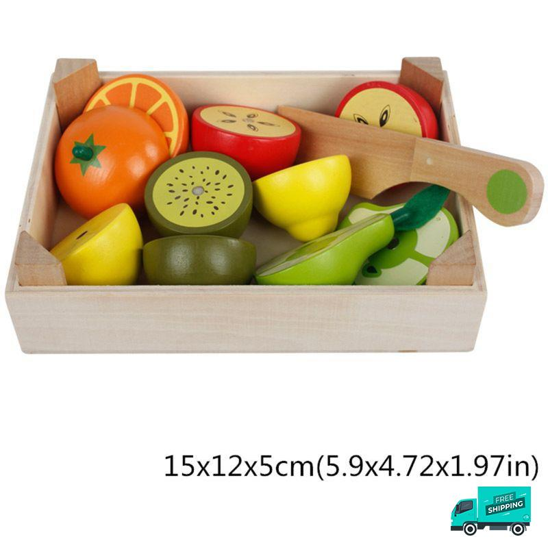 Wooden Cutting Fruit Vegetable Toys Set A