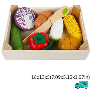 Wooden Cutting Fruit Vegetable Toys Set C