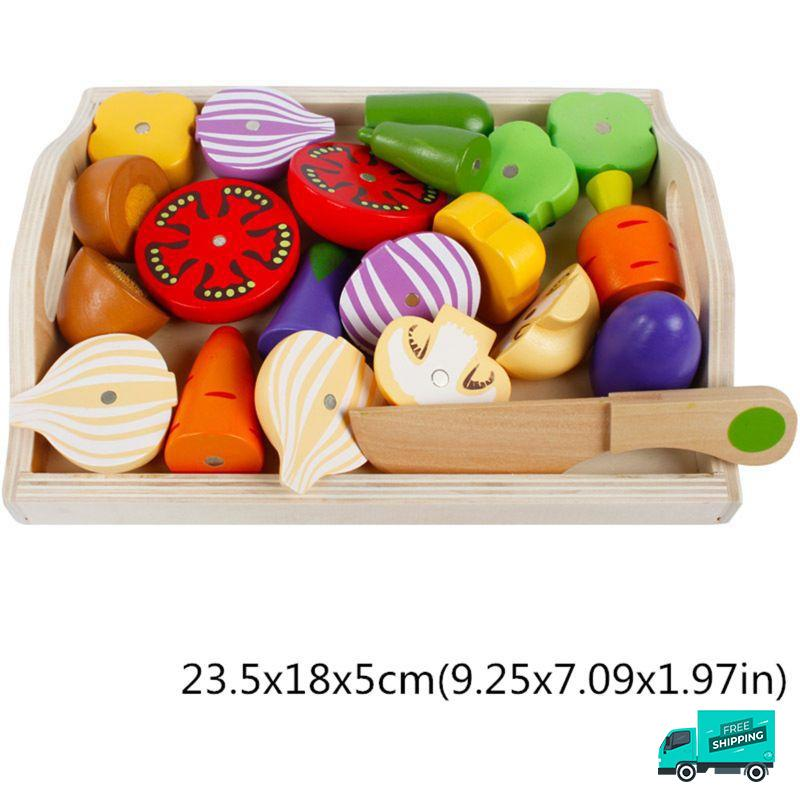 Wooden Cutting Fruit Vegetable Toys Set D