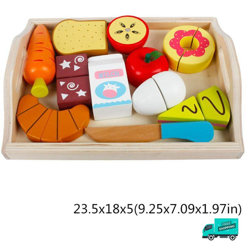 Wooden Cutting Fruit Vegetable Toys Set E