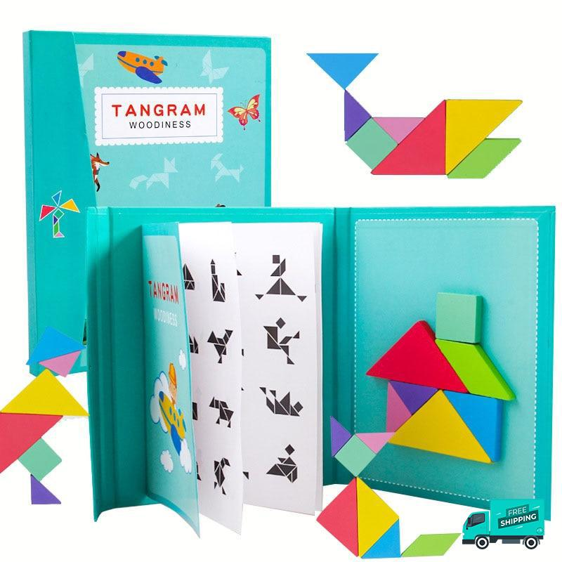 Wooden Magnetic 3D Puzzle Jigsaw Tangram in green variant