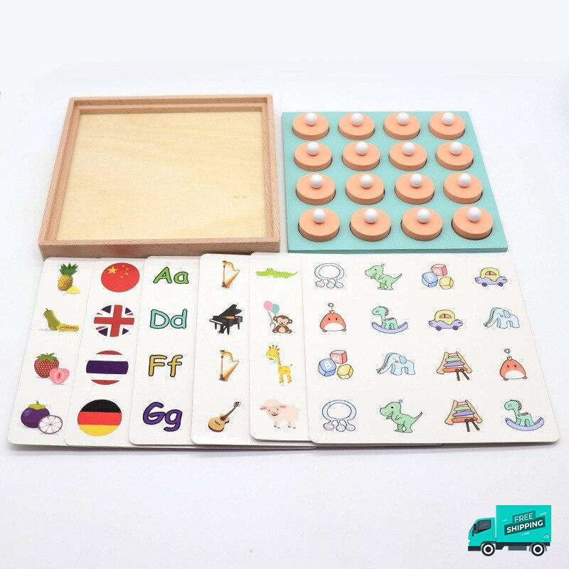 Wooden Memory Board Game showing all pieces